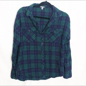 Flannel Button Down Green and Blue